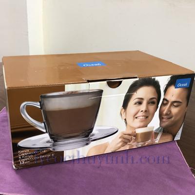 bo 6 tach dia cafe P01641 1671 01 - Bộ 6 Đĩa Lót Và 6 Tách Cafe Kenya Cappuccino Cup P01641/P01671 Loại To - 245ml