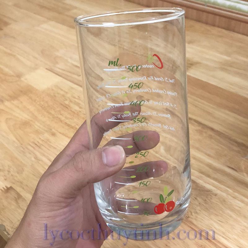 B00322 coc chia vach xanhlacay 01 - Bộ 6 Cốc Thủy Tinh Top Drink Chia Vạch - B00322 - 625ml