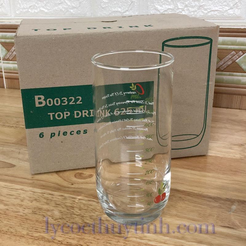 B00322 coc chia vach xanhlacay 02 - Bộ 6 Cốc Thủy Tinh Top Drink Chia Vạch - B00322 - 625ml
