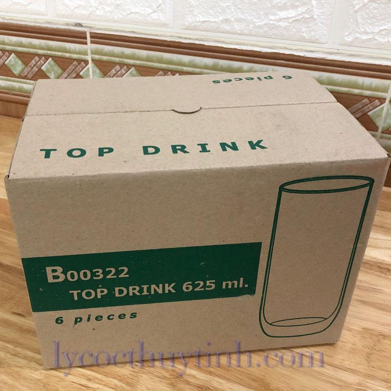 vo hop B00322 coc chia vach xanhlacay 01 - Bộ 6 Cốc Thủy Tinh Top Drink Chia Vạch - B00322 - 625ml