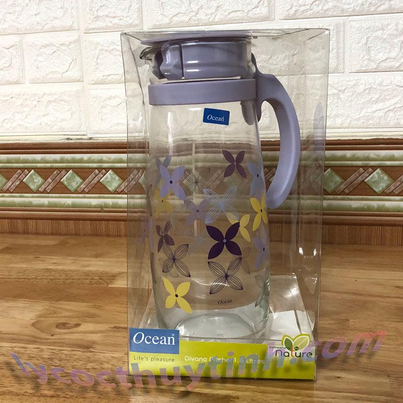 Bình nước thủy tinh quai nhựa Divano – 5V20558 H 1.6l 03 800x800 - Bình nước thủy tinh quai nhựa in Hoa Divano - 5V20558-H-1.6 lít