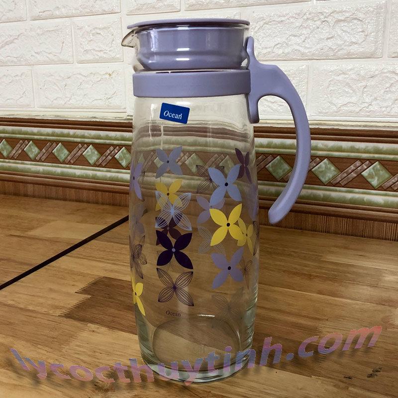 Bình nước thủy tinh quai nhựa Divano – 5V20558 H 1.6l 04 800x800 - Bình nước thủy tinh quai nhựa in Hoa Divano - 5V20558-H-1.6 lít