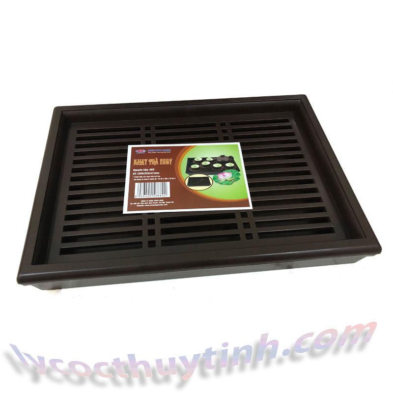 khay tra nhua chu nhat 01 800x800 - Khay trà nhựa chữ nhật giả gỗ màu nâu - KT01