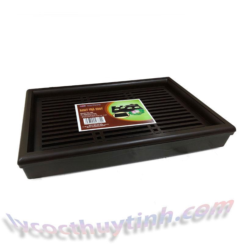 khay tra nhua chu nhat 02 800x800 - Khay trà nhựa chữ nhật giả gỗ màu nâu - KT01