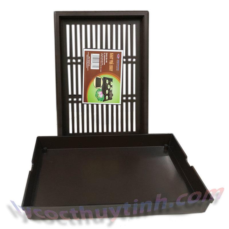 khay tra nhua chu nhat 03 800x800 - Khay trà nhựa chữ nhật giả gỗ màu nâu - KT01
