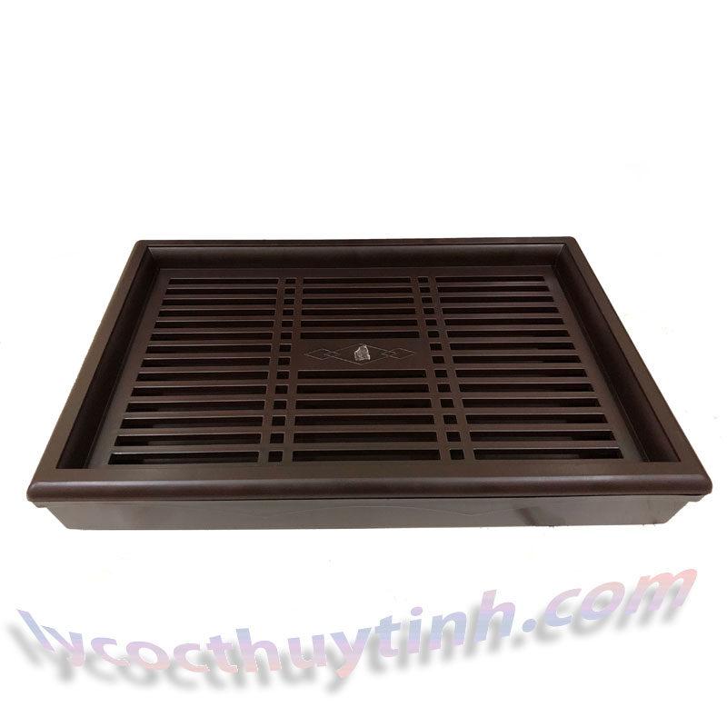 khay tra nhua chu nhat 04 800x800 - Khay trà nhựa chữ nhật giả gỗ màu nâu - KT01