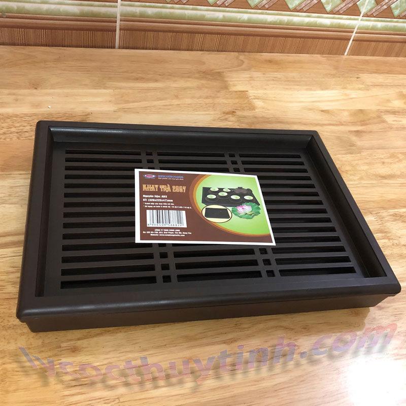 khay tra nhua chu nhat 05 800x800 - Khay trà nhựa chữ nhật giả gỗ màu nâu - KT01