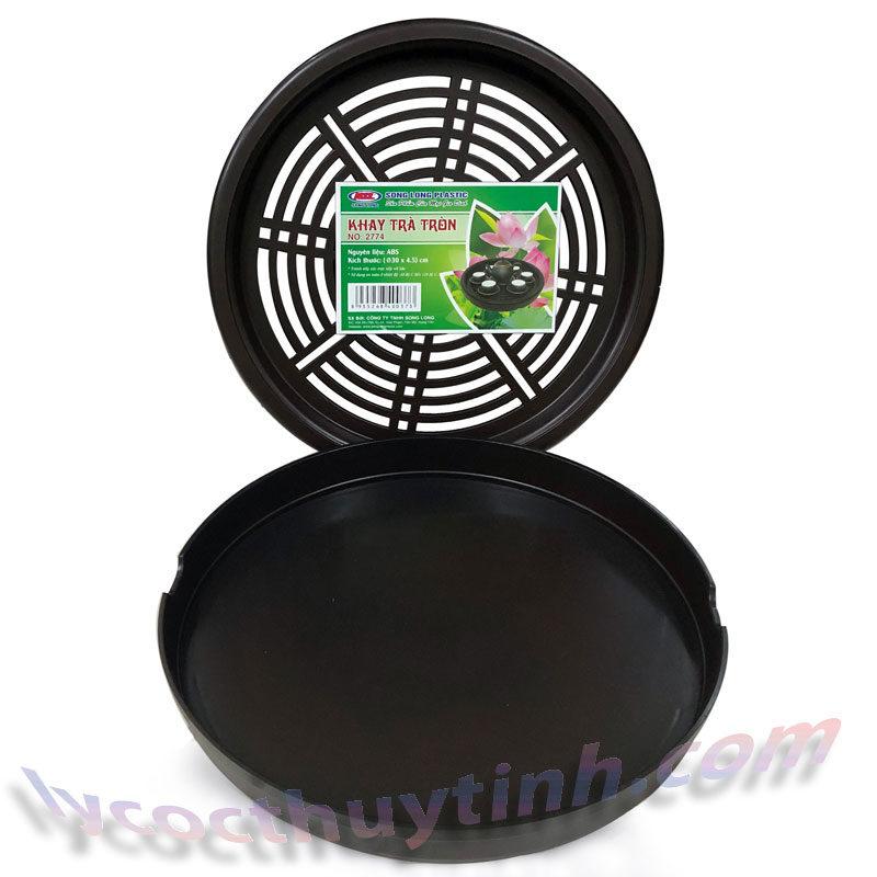 khay tra nhua tron 03 800x800 - Khay trà nhựa tròn giả gỗ màu nâu Song Long - KT02