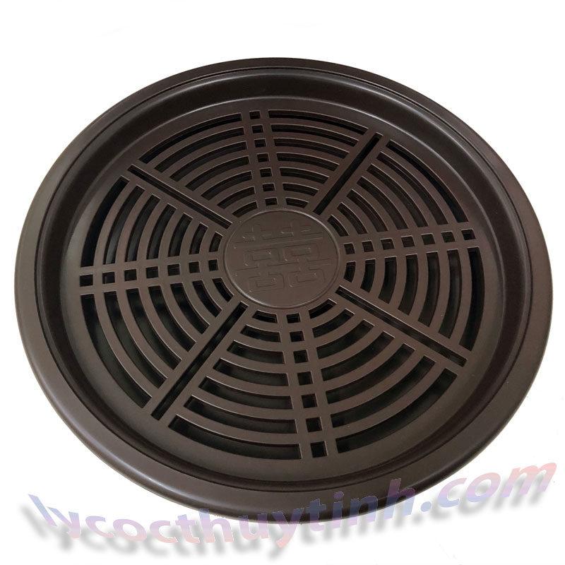 khay tra nhua tron 04 800x800 - Khay trà nhựa tròn giả gỗ màu nâu - KT02