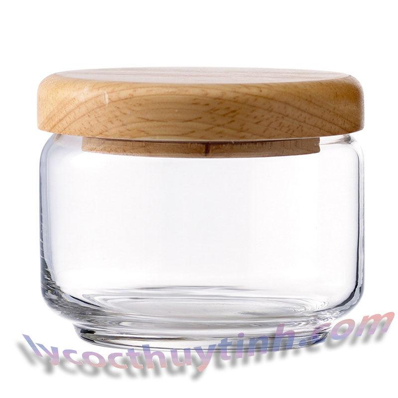 lo thuy tinh B02511 pop jar nap go 01 800x800 - Bộ 6 Lọ Thủy Tinh Pop Jar Nắp Gỗ - B02511 - 325ml