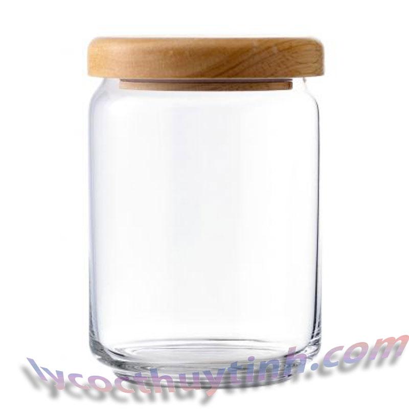lo thuy tinh B02523 pop jar nap go 01 - Lọ Thủy Tinh Pop Jar Nắp Gỗ - B02523 - 650ml