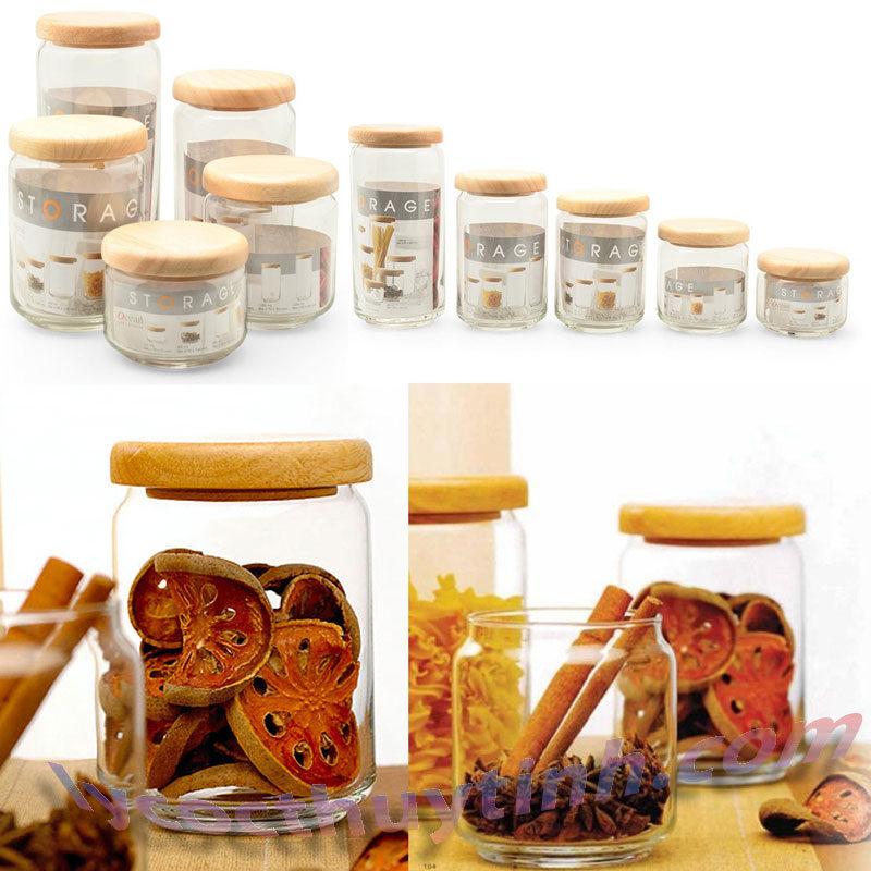 lo thuy tinh B02523 pop jar nap go 02 800x800 - Bộ 6 Lọ Thủy Tinh Pop Jar Nắp Gỗ - B02523 - 650ml