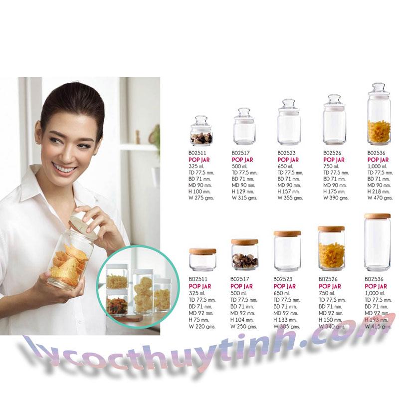 lo thuy tinh B02523 pop jar nap go 03 - Lọ Thủy Tinh Pop Jar Nắp Gỗ - B02523 - 650ml