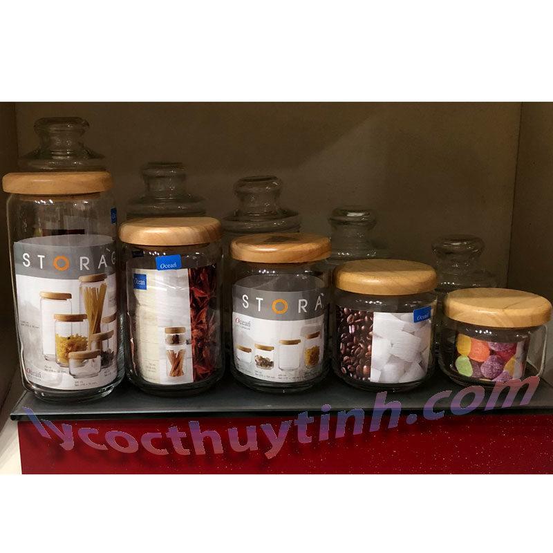lo thuy tinh B02523 pop jar nap go 04 800x800 - Bộ 6 Lọ Thủy Tinh Pop Jar Nắp Gỗ - B02523 - 650ml