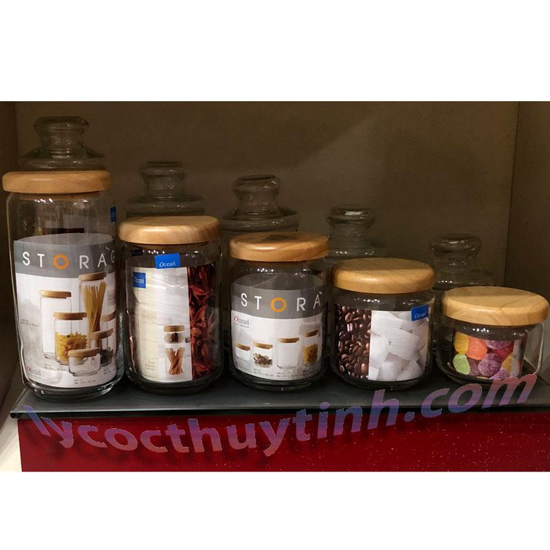 lo thuy tinh B02523 pop jar nap go 04 - Lọ Thủy Tinh Pop Jar Nắp Gỗ - B02523 - 650ml