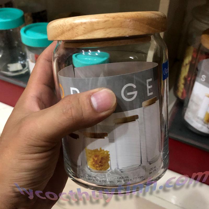 lo thuy tinh B02523 pop jar nap go 05 - Lọ Thủy Tinh Pop Jar Nắp Gỗ - B02523 - 650ml