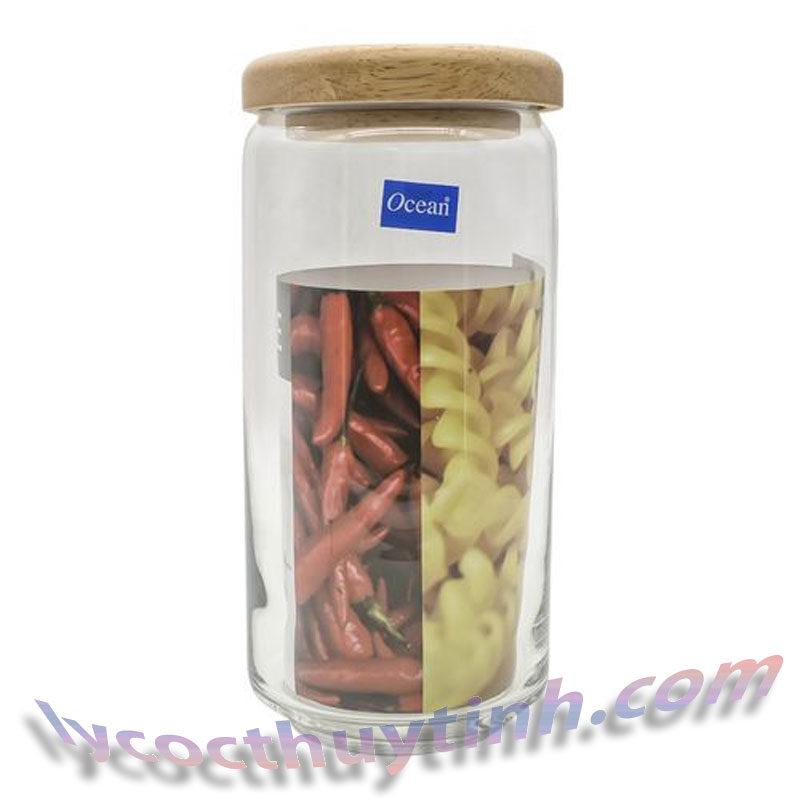lo thuy tinh B02536 pop jar nap go 02 800x800 - Bộ 6 Lọ Thủy Tinh Pop Jar Nắp Gỗ - B02536 - 1000ml