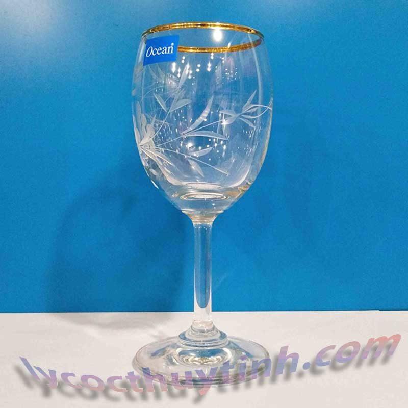 ly thuy tinh vang trang 1501W07 vien vang 01 800x800 - Bộ 6 Ly Thủy Tinh Vang Trắng Classic White Wine Viền Vàng Mài Hoa - 1501W07-VV - 195ml